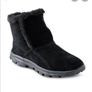 BNIB Skechers GOWalk Suede Faux Fur Black Boots